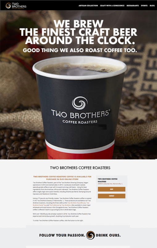 Two Brothers coffee roasters page