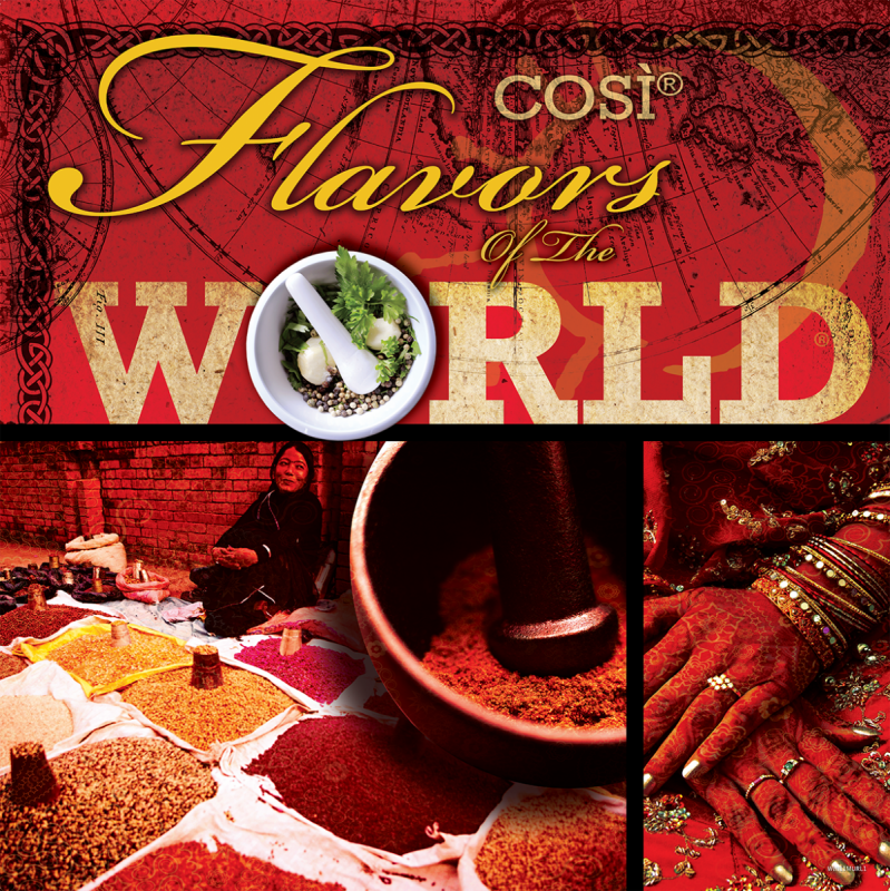 cosi restaurants Flavors of world door sign