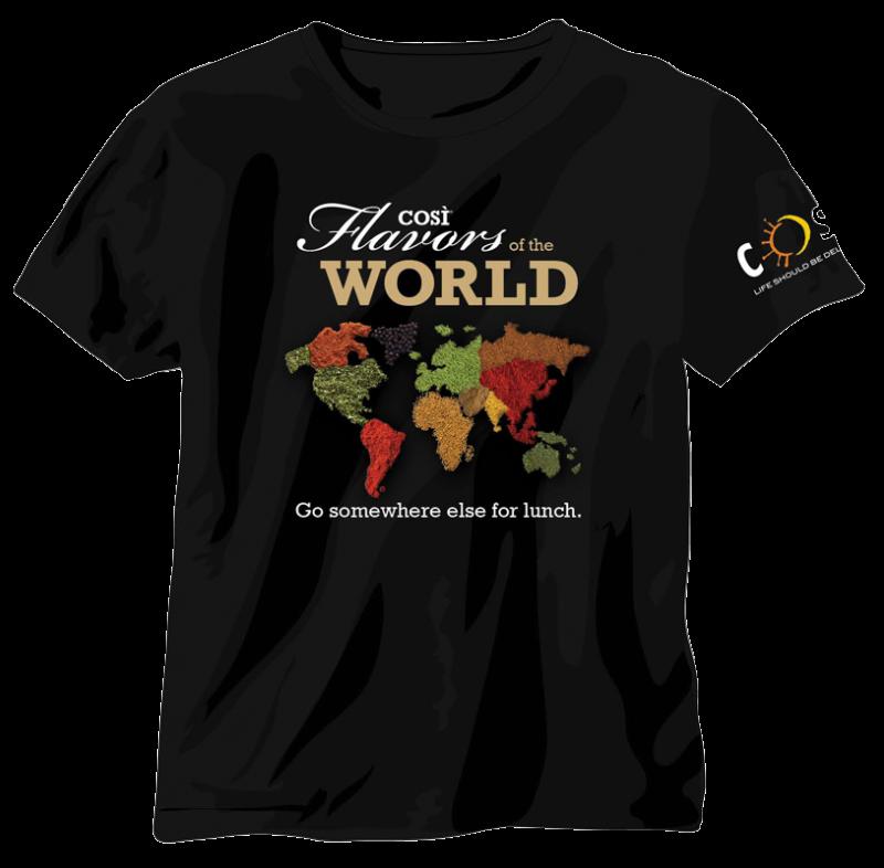 cosi restaurants Tee shirt flavors of the world_