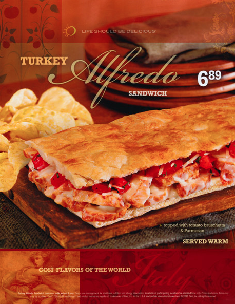 cosi restaurants turkey alfredo poster